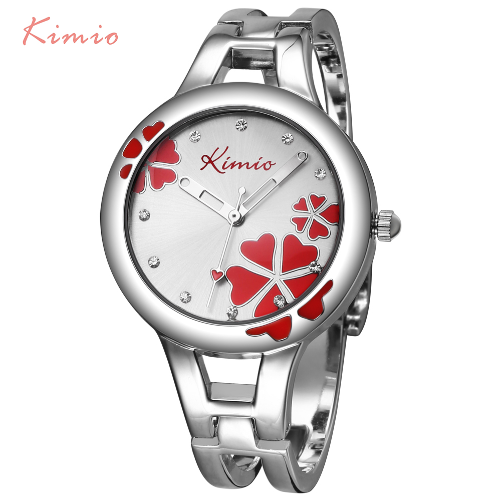 kimio carving clover flower womens watches top brand