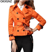 OKXGNZ European Hot Sell Women Jacket 2017 Spring New Short Section Women Coat Solid Color Double Breasted Woman Basically Coats