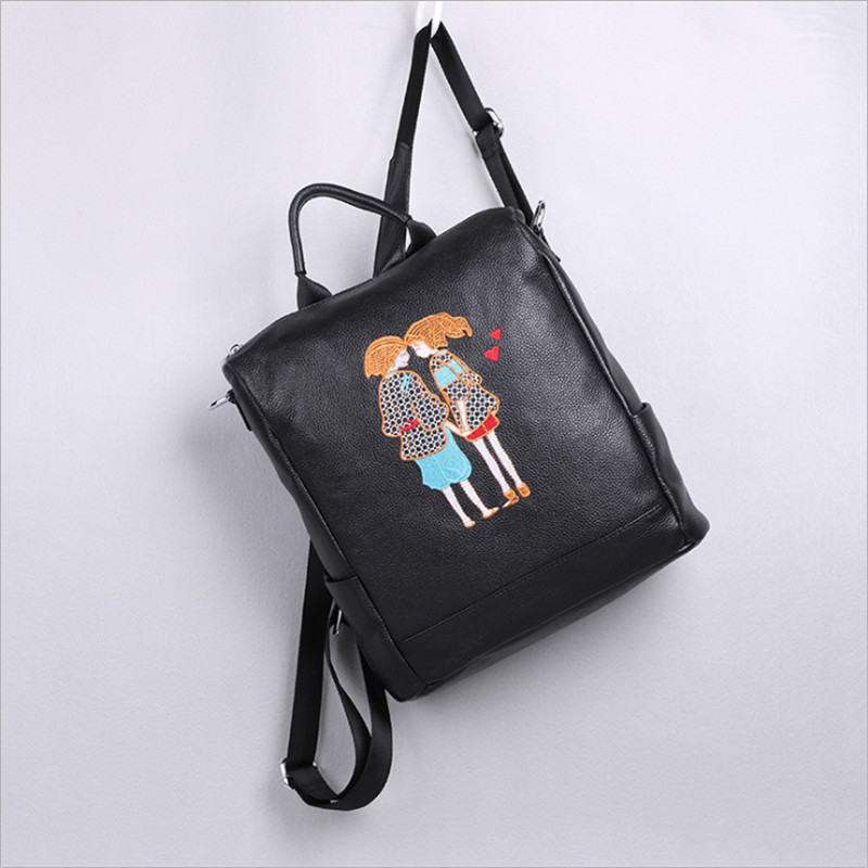 Hchenli Brand large big genuine leather ladies embroidered cartoon printing colorful butterfly leather student backpack butterfly patches faux leather backpack