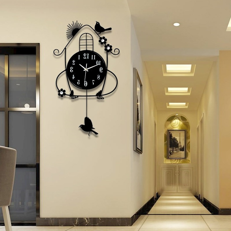 Creative black iron swing hanging bird durable metal electronic wall clock large wall arts and crafts modern design wall clock