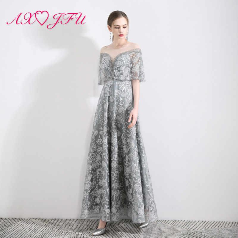 AXJFU Принцесса О-образным вырезом серое кружевное роскошное вечернее платье винтажное свадебное Иллюзия вечерние серые цветочные кружева ведущее вечернее платье