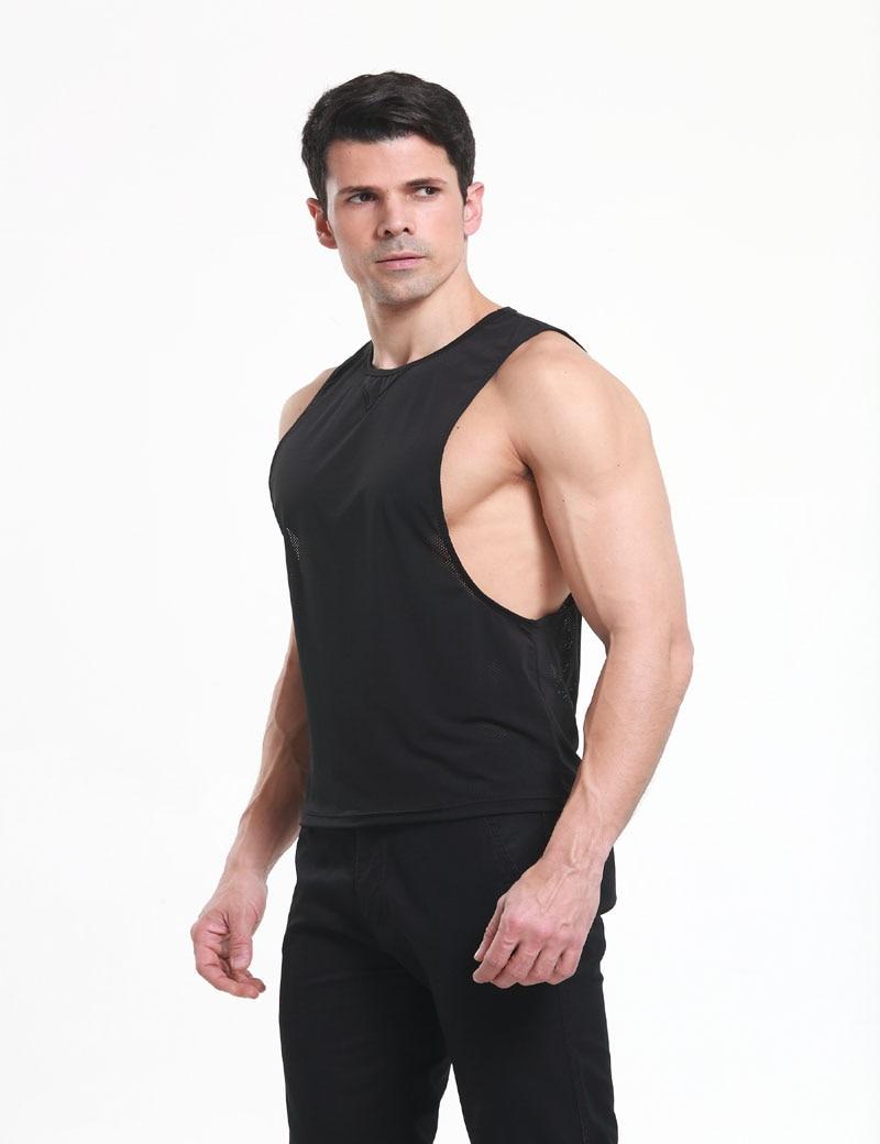 cc457371e40 Sleeveless Men Sheer Tank Tops Casual Vest Tiny Net Black Male T-shirts  Summer Cool