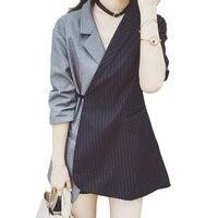 2017 Autumn Patchwork Striped Women Blazers Fahsion Tie Waist Turn Down Collar Cool Jackets Coat Elegant