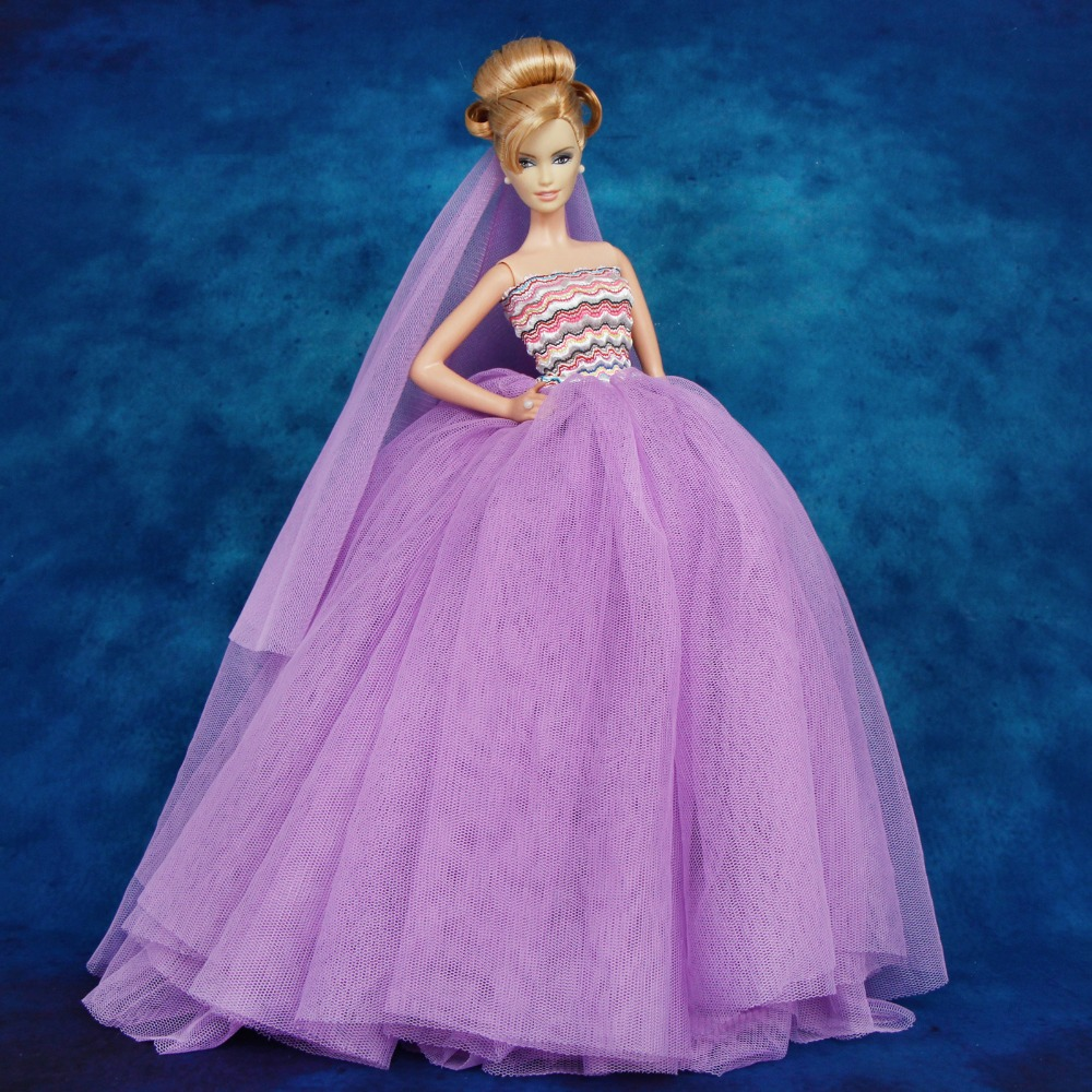 Fashion Handmade Princess Dress Wedding Clothes Gown for Barbie Doll Gifts