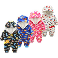 Thick Warm Infant Newborn Baby Boy Girl Sweater Jumpsuit Hooded Kid Toddler Outerwear Baby Rompers Winter Clothes