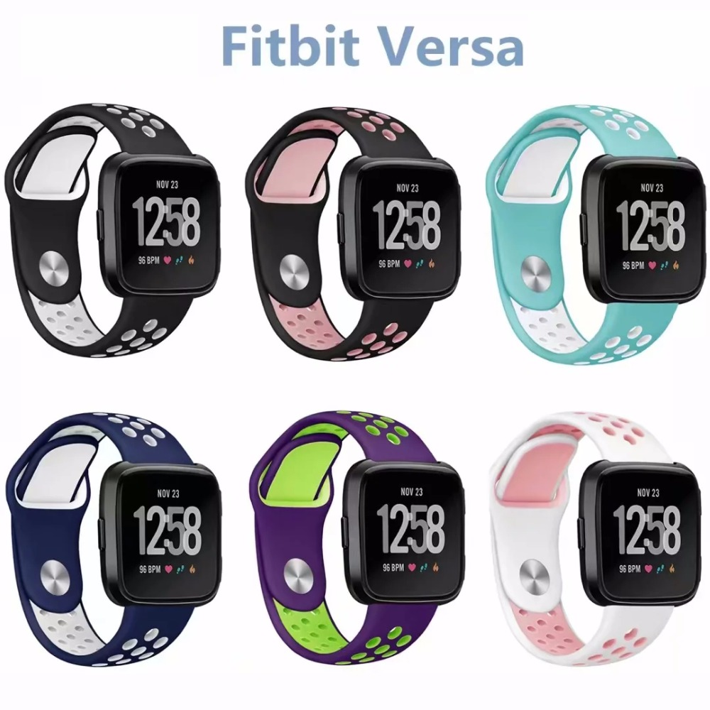2018 new Watchband Breathable Sport silicone Band for fitbit Versa Frontier Replaceable Bracelet Strap for fitbit Versa jansin 22mm watchband for garmin fenix 5 easy fit silicone replacement band sports silicone wristband for forerunner 935 gps