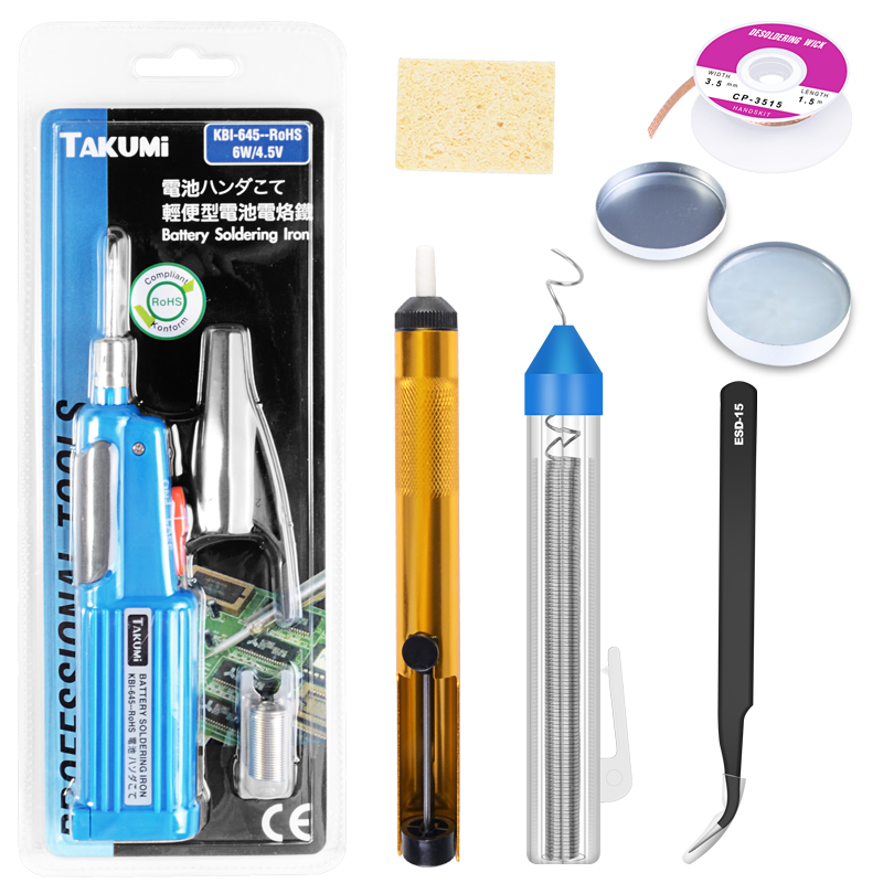 Battery Electric Soldering Iron 6W 4.5V Mini portable TAKUMI KBI-645 With Desoldering Pump Soldering Wire Tweezers Welding Tools