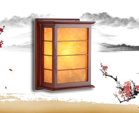 Chineses rustic red wood frame wall lamps Brief yellow parchment energy saving E27 lamp for bedroom&porch&stairs&studio QLBD002 e27 15w trap lamp uv spiral energy saving lamps purple white