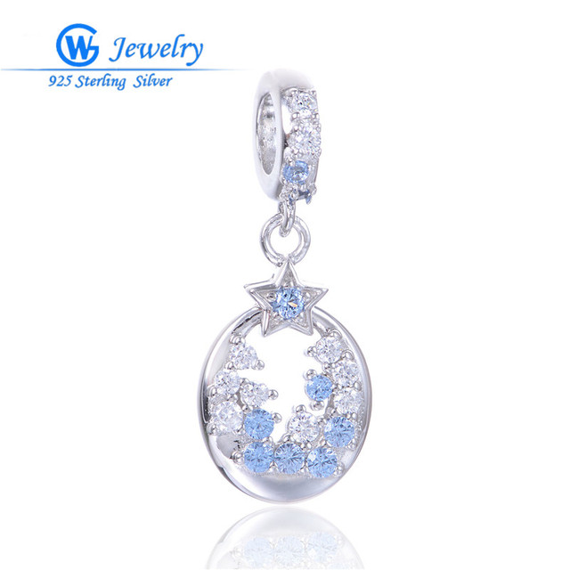 Joyería fina de plata de ley 925 estrellas encantos de cristal collar llamativo colgante encaja pulsera para las mujeres joyería fina gw s433h20