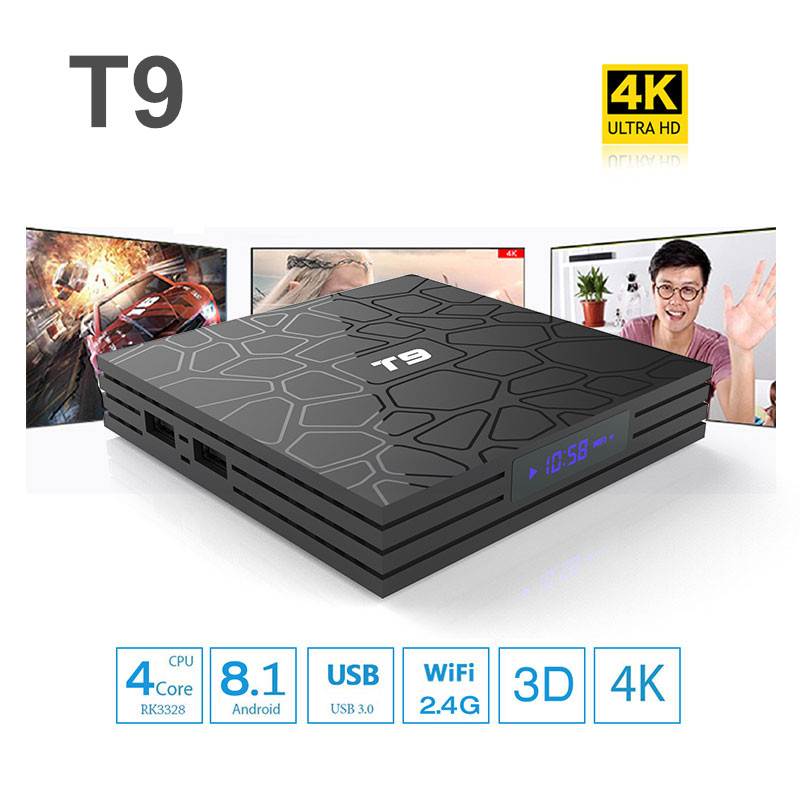 T9 Android 8.1 Smart TV Box 4GB 32GB/64GB Rockchip RK3328 BT4.1 Wifi 1080P H.265 4K VP9-10 Google Player Set Top Box PK X96MAX