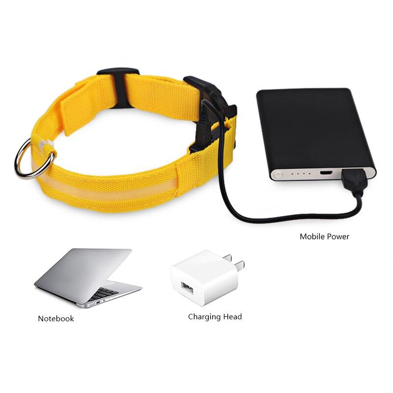 USB Recargable LED Collar de Perro Que Destella En la Oscuridad de Nylon 3 Modo