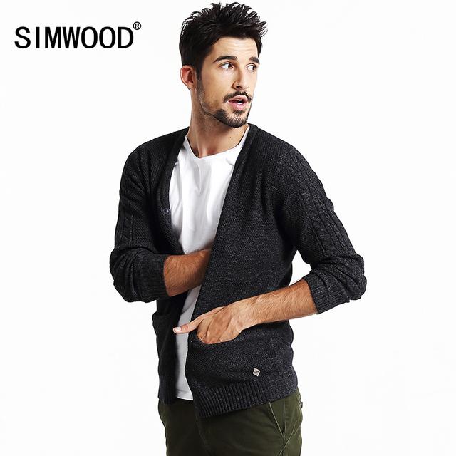 Simwood 2016 nova outono homens casuais camisola moda cardigan malhas de algodão slim fit casacos my2016