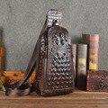 2017 New Vintage Men Genuine Leather Crocodile Travel Shoulder Cross Body Messenger Sling Pack Chest Bag