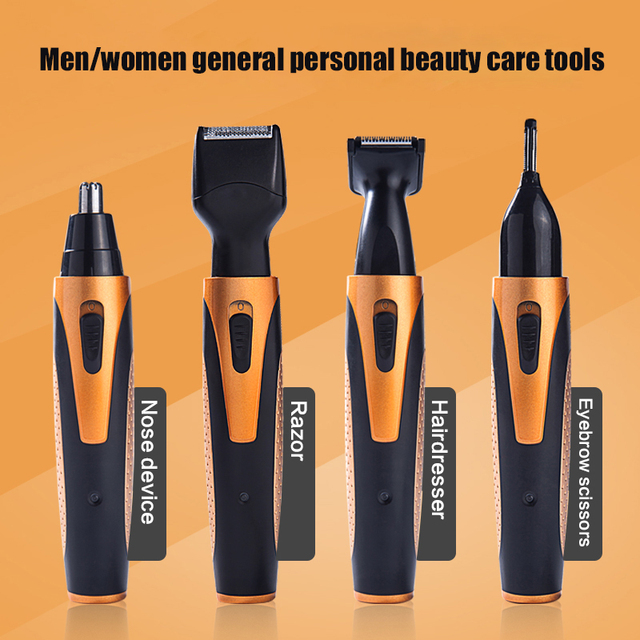 4 in 1 Rechargeable Electric Nose Hair Trimmer Removal Clipper Shaver Machine Beard Eyebrow Trimmer for Men Nose Hair Cutter 4