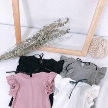 Celveroso Toddler Girl Ruffle Causal T Shirt Summer T-shirt For Girls Lovely Baby Pink/White/Gray/Black Basic Tees Quality Tops