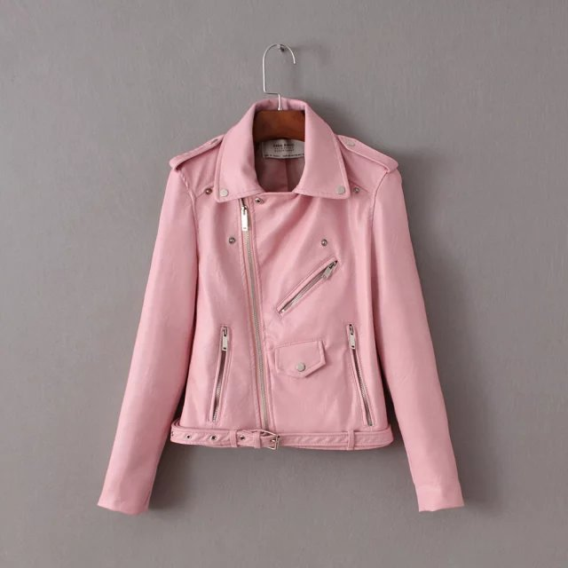 5 Colors! Fashion Ladies PU Jacket  Women Casual Slim Motorbike Short Jacket Coat Female Chaquetas Mujer LBBI3046023-0701