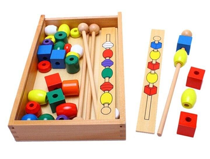 Монтессори развивающие игрушки из бисера Последовательности набора Block классические Abacus soroban детские игрушки для детей математике игрушки ...