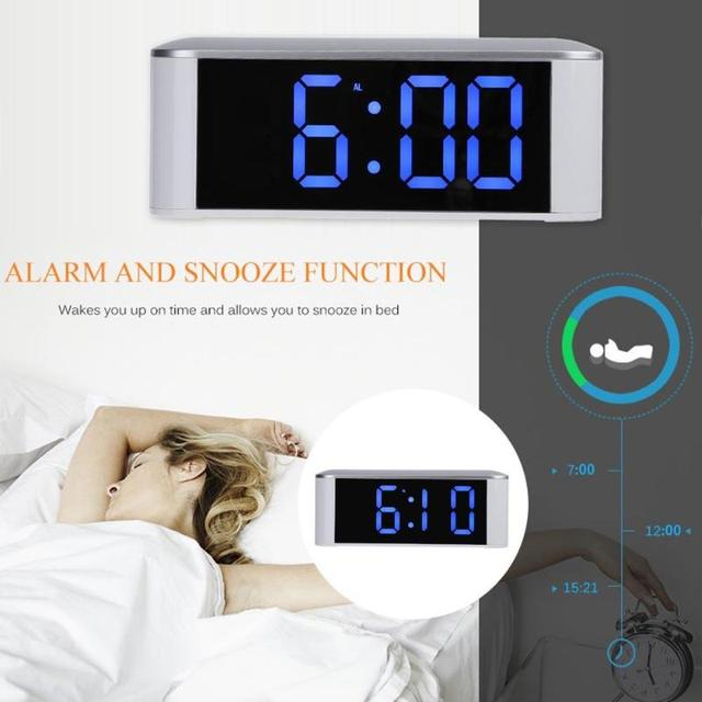 Digital LED Mirror Alarm Clock 12H/24H Alarm and Snooze Function Table Clocks Home Thermometer Electronic Desktop Watch