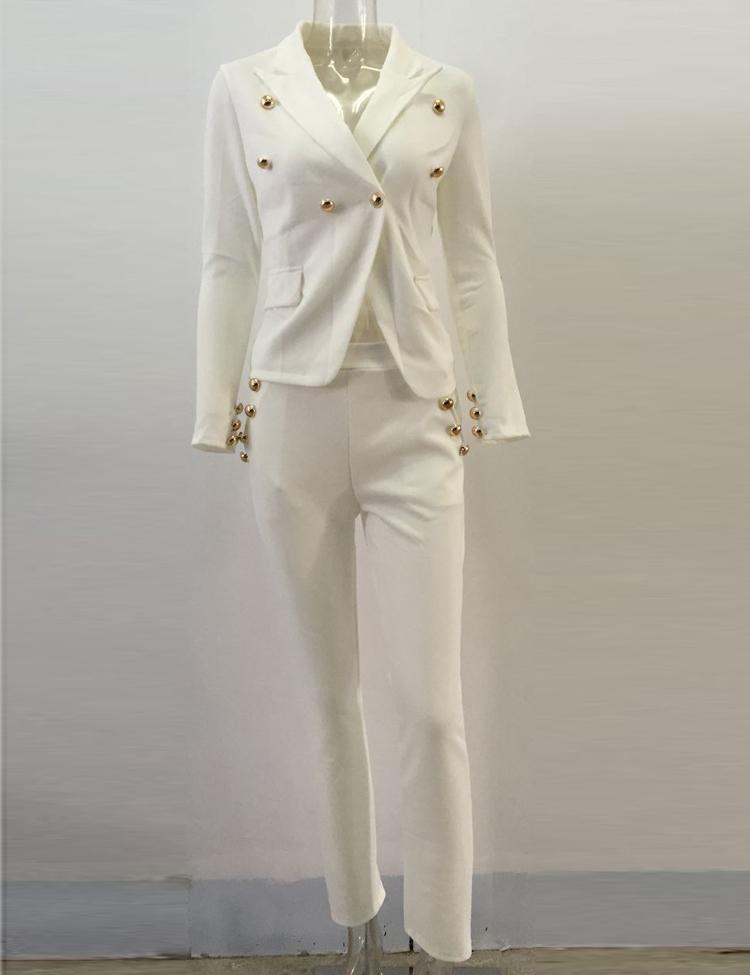 Black White Pants Suit Women Business Formal 2 Piece Pant Set Female (9)
