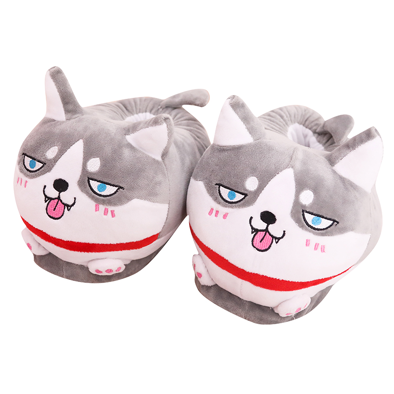 Husky shoes funny dog slippers home Dog slippers for Men and women winter lovely cotton-padded indoor female plush slipper image