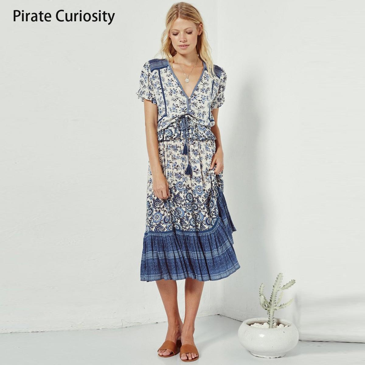 2a1ea53b9f223 Pirate Curiosity Gypsy Indigo Boho Summer Shirt Top V Neck Short ...