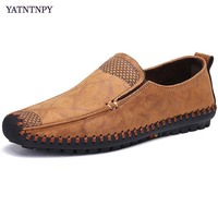 YATNTNPY New Brand wearable casual man shoes fashion flat canvas shoes slip on men sneaker men soft driving shoes