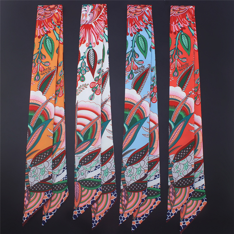 Small Long Skinny Scarves 2020 New Silk Scarf Women Fashion Cashew Print Handle Bag Ribbons Femme Neckerchief Head Scarfs Tie