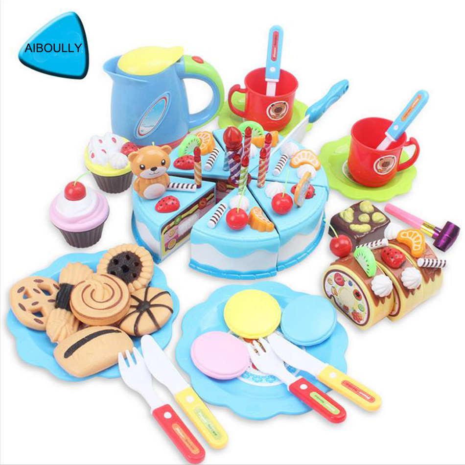 Food Cutting Toy Pretend Role Cake Play Kitchen Birthday Cake Toys Kids Applied