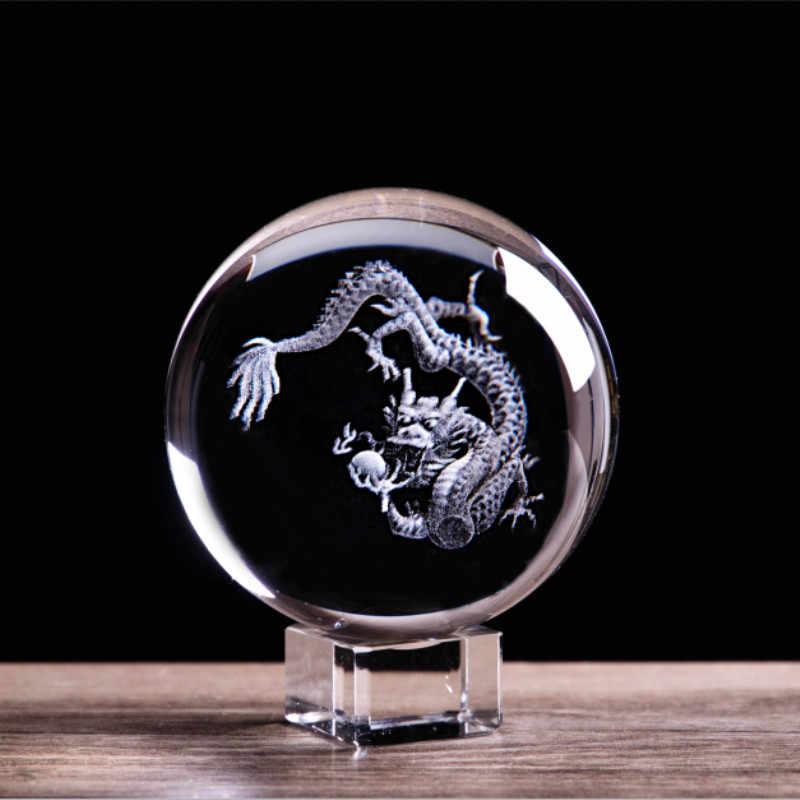 Chinese Zodiac Dragon Figurines 3D Laser Engraved Crystal Ball Sphere Glass Marbles Globe Feng Shui Home Art Collectible Dragons