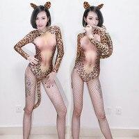 Sexy Long Sleeve Women Imitation Cheetah Skinny Bodysuit Full Diamond Leopard Tail Romper Party Fancy Wear Fascinate Clothing