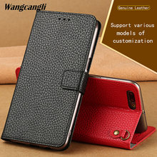wangcangli Genuine Leather Mobile phone bag for iphone bag high quality lychee grain Flip cover PU Anti-knock dirt-resistant red(China)