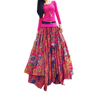 New Fashion Top Sale Long Flowing Thick Cotton Multicolor Print Skirts Bohemia Style Ethnic Print Linen