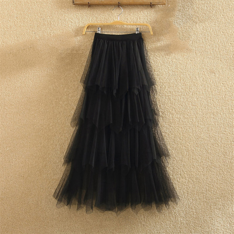 Women irregular Tulle Skirts Fashion Elastic High Waist Mesh Tutu Skirt Pleated Long Skirts Midi Skirt Saias Faldas Jupe Femmle 33