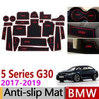 Anti-Slip Gate Slot Mat Rubber Cup Mat for BMW 5 Series G30 2017 2018 2019 520 530 540 520d 525d 540d G31 M5 M Power Accessories