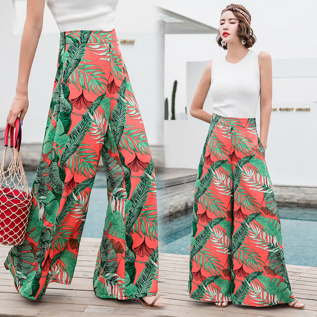 1ca0c91ce9 New Floral Print Wide Leg Pants Women Long Casual Pant 2018 Summer Boho  Retro Holiday Beach Pants High Waist Chiffon Trousers
