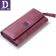 DIDE 2019 Wallet For Women 100% Genuine Leather Vintage long Clutch Purse Soft zipper Coin Card Holder Bag Lady Walet
