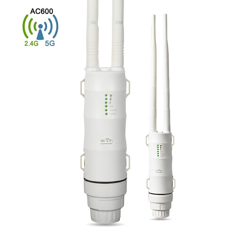 Outdoor AC600 WiFi Repeater Waterproof Wifi Router 5G+2.4G Wi-fi Signal Amplifier 802.11 b/g/n/ac Wireless Range Extender original xiaomi wifi repeater electric cat wifi rounter modem wireless range extender router access point signal amplifier