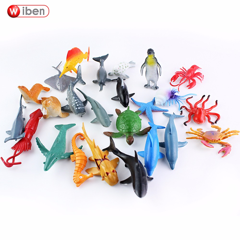Wiben 24 pcs Small Size Sea Life Model Toys PVC 4-7cm Pool Fish Toy Early Education Marine Animals Figure Gift For Children bigger size soaked absorbent toy growing animals funny kids swell toy sea