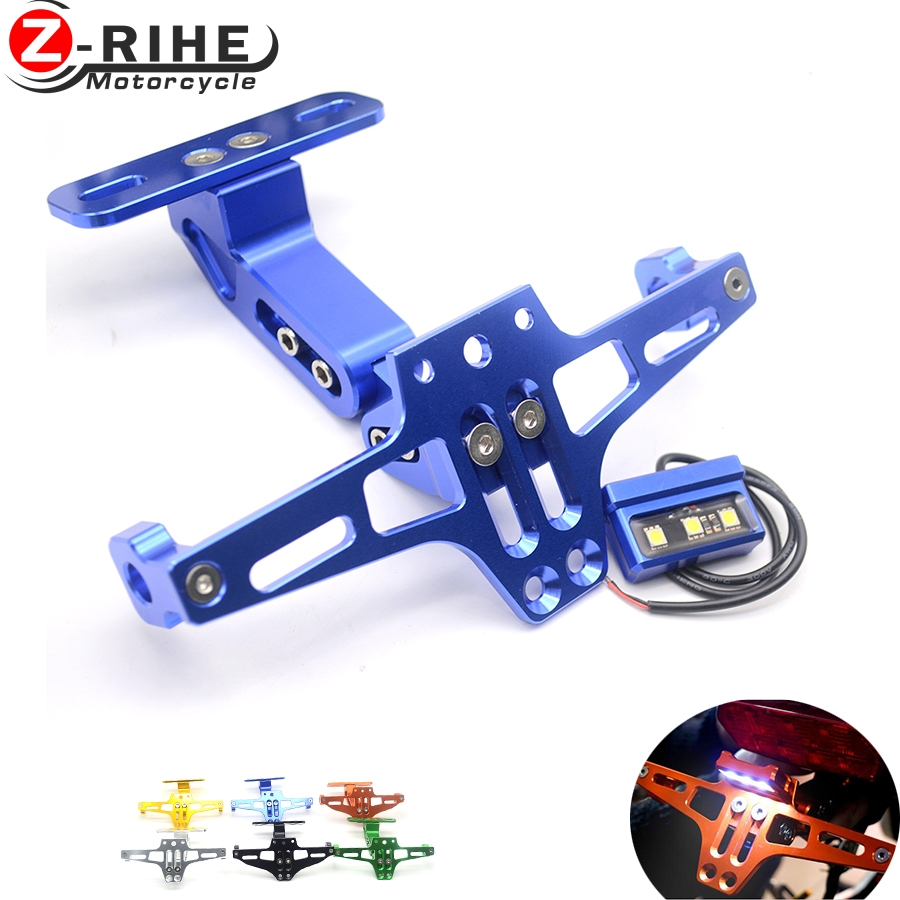 Motorcycle License Plate Bracket Licence Plate Holder Frame Number Plate&License plate lights For Yamaha FZ6 FAZER FZ6R FZ8 MT07 motorcycle cnc aluminum license plate bracket licence plate holder frame number plate for suzuki gsxr 600 750 gsx r 600 2006 16