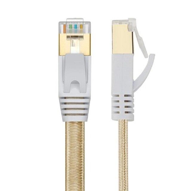 Nieuwe 0.5m1m1.5m2m 3 m, 5 m 10mCAT7 kabel Rj45 platte Ethernet LAN Netwerk Kabel Voor Router Switch goud plated gratis verzending