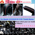 DIY Genuine cow Leather Black Gear Set Shift collar Knob handbrake Cover For Mazda XC5 CX7 2/3/5/6/8 CX-5 CX-7 CX-3 Axela Atenza