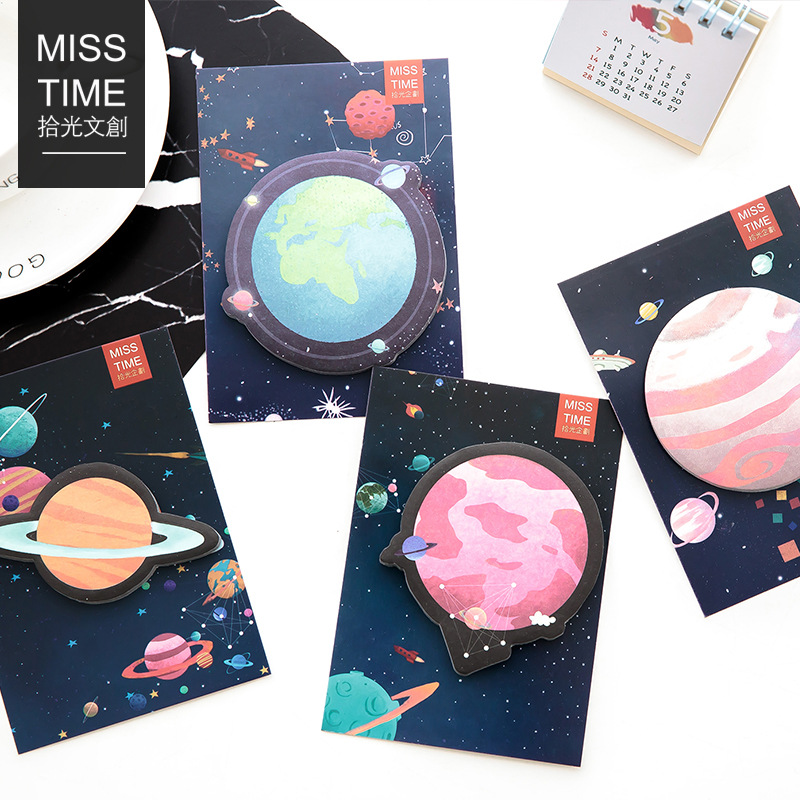 Painstaking 4pcs/lot Beautiful Planet Memo Notepad Notebook Memo Pad Self-adhesive Sticky Notes Bookmark Promotional Gift Stationery Comfortable And Easy To Wear Notebooks & Writing Pads Memo Pads