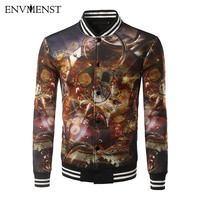 Envmenst 2017 Fashion Men Single Breasted Coat Casual Style Stand Collar Jacket Spring Autumn Leisure Men's 3D Printed Jacket
