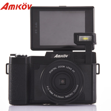 AMKOV AMK-R2 3.0″ TFT LCD 1080P HD 4 Times Digital Zoom 24MP Digital SLR DV Recorder Camera +Wide-angle Lens Mini Digital Camera
