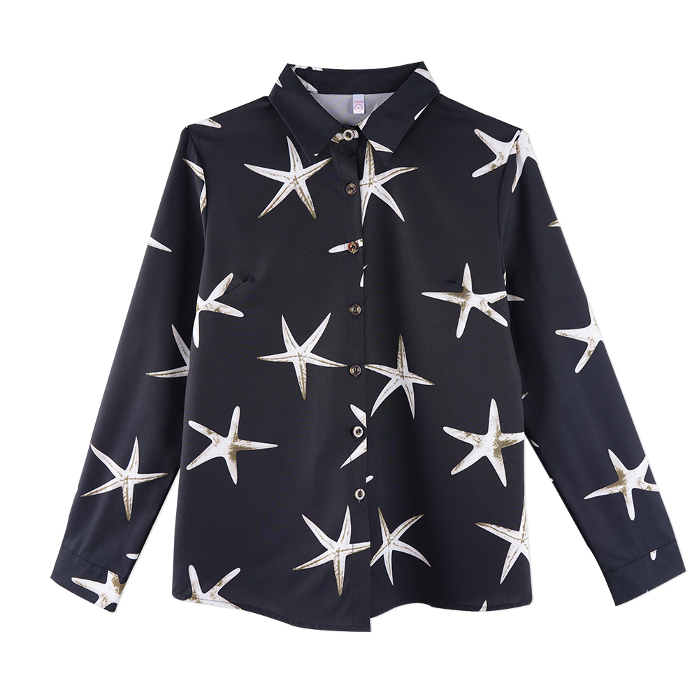 Neatie kiddie Office Ladies OL Long Sleeve Chiffon Shirt Starfish Print Elegant Business Blouse Tops Woman Clothes 2019