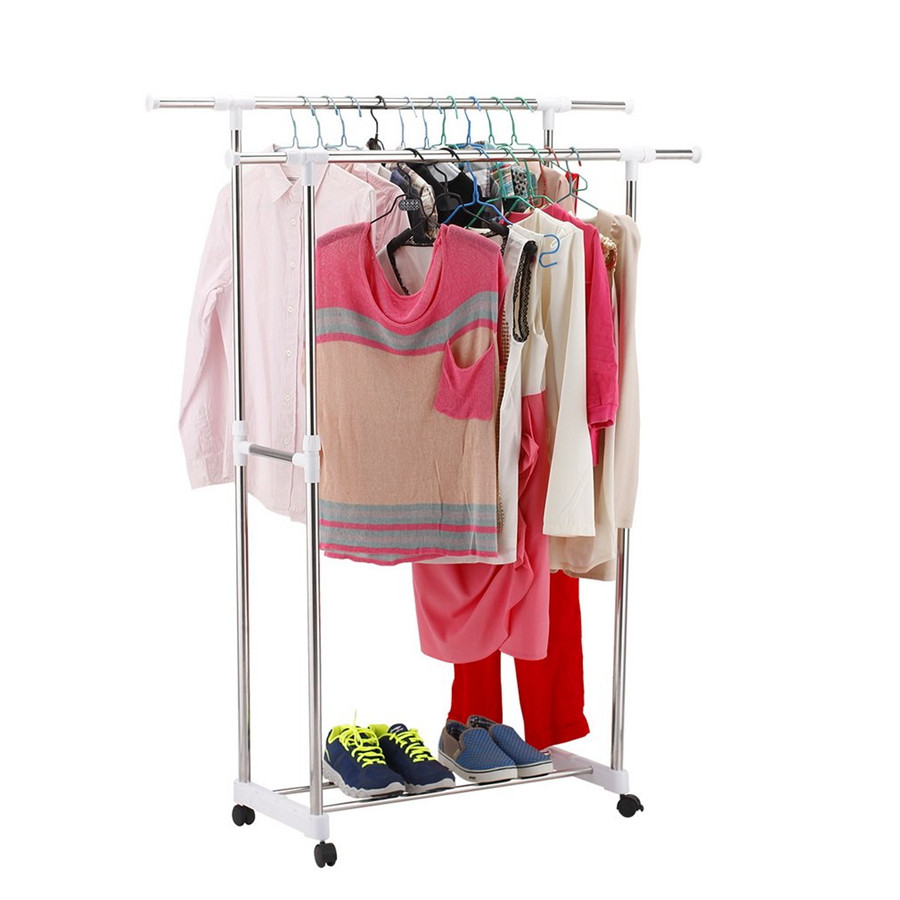 Adjustable Clothes Stand Rack Double Bar Garment Hanger Clothing Display Convenient Wheels High and Low Bars Saving Space