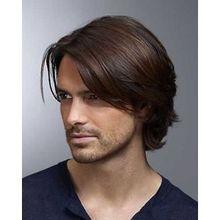 Real Hair! Fashion Natural Dark Brown Short Toupee For Men Hair Wig