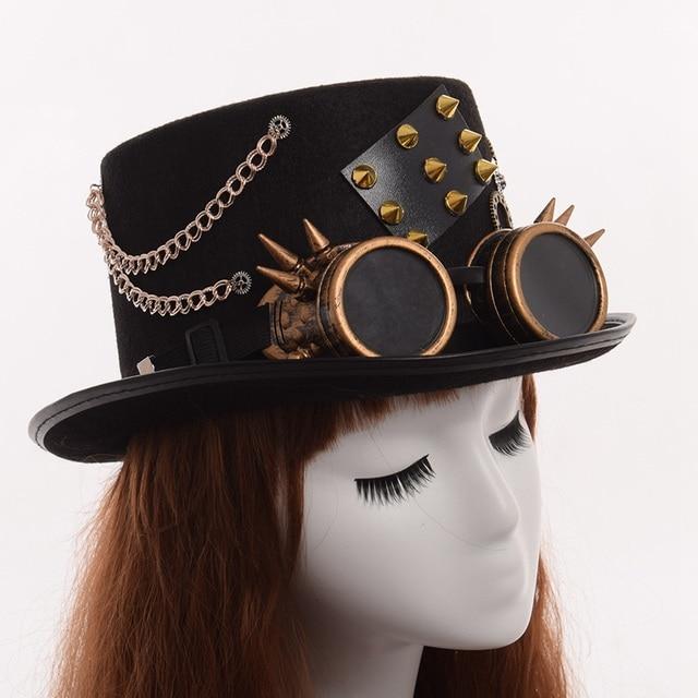Шляпа в стиле стимпанк с очками в ассортименте вариант 3 2