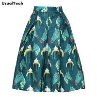 UsualYeah 2017 Women Knee Length Skirts High Waist Fashion Horse Pattern Green White Skirt For Summer