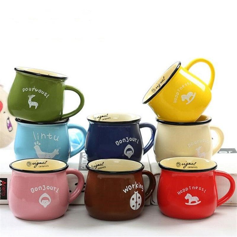 FEIGO 150 250 380ml Hot Creative Candy Color 3D Ceramic Mug Coffee Milk Breakfast Cup Cute Porcelain Tea Mugs Novetly Gifts F247 in Mugs from Home Garden